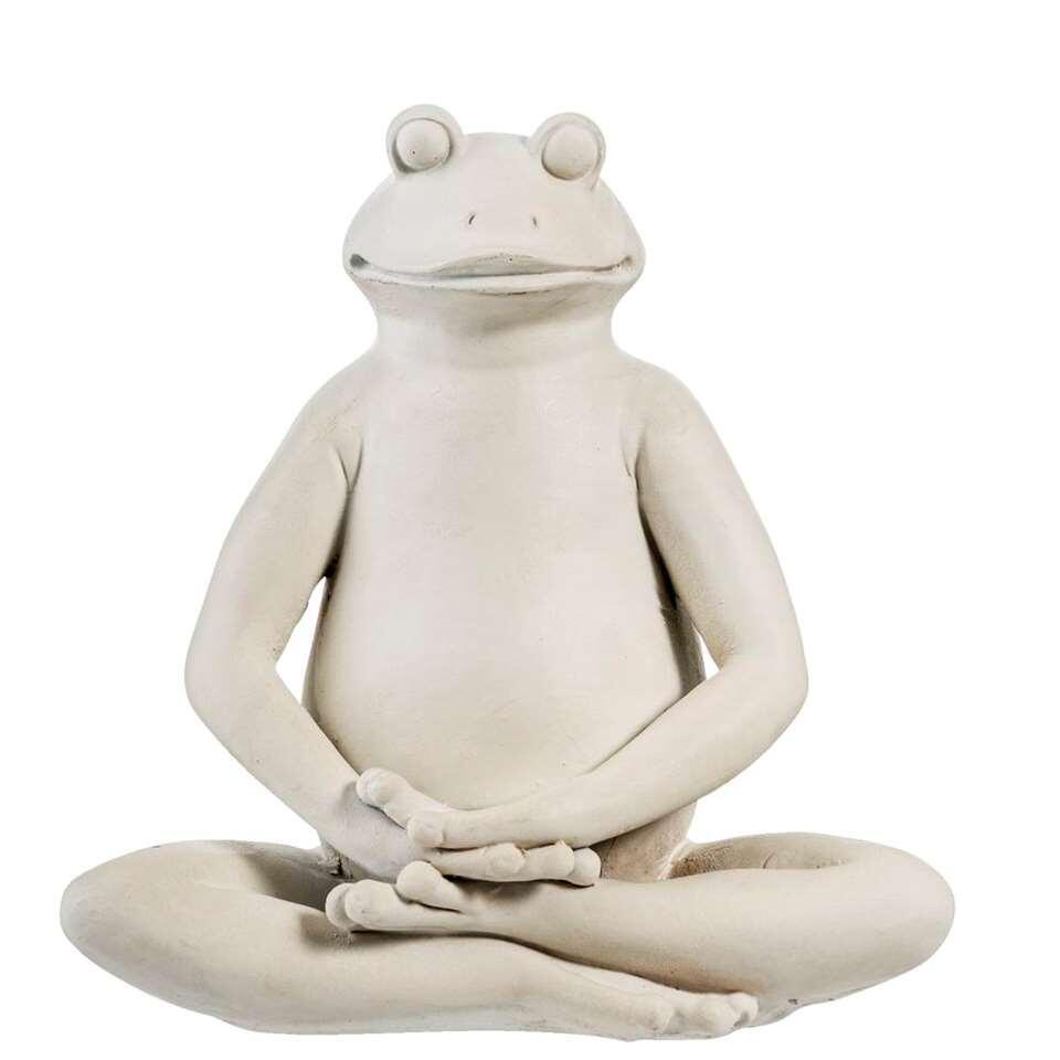 Beeld Frog 2 - grijs - 15x14x8 cm - Leen Bakker