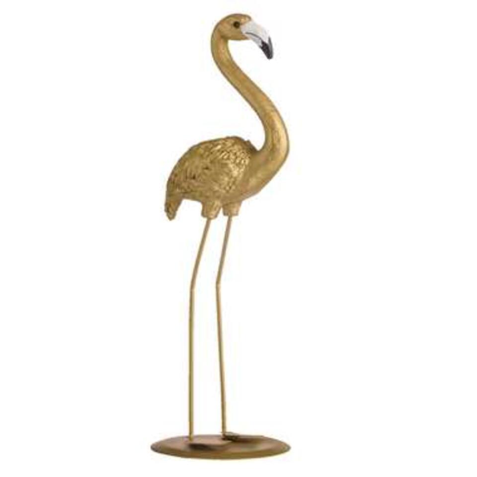 Ornament Flamingo - goudkleur - 26,5x10x8,5 cm