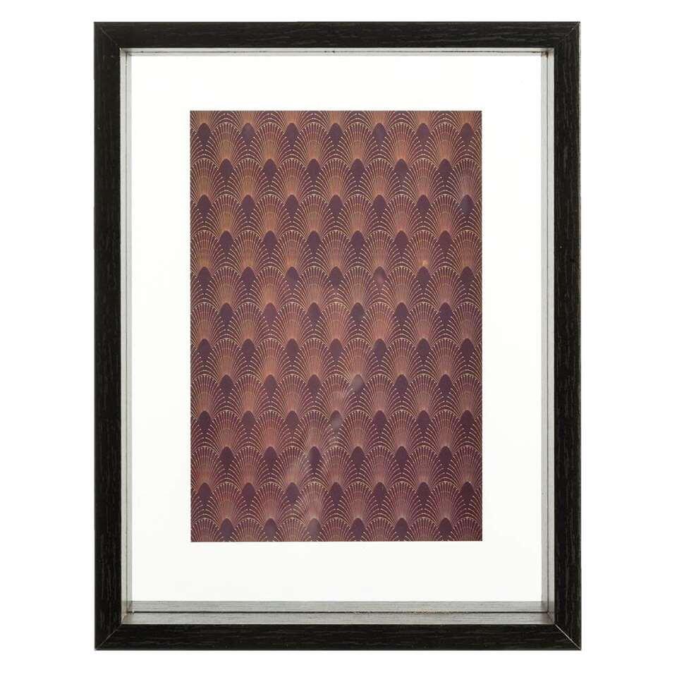 Lijst met deco Nardini - zwart - 21,3x16,2x4 cm - Leen Bakker