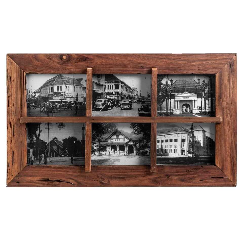 Collage fotolijst Andy - bruin - 39,5x69x3,5 cm