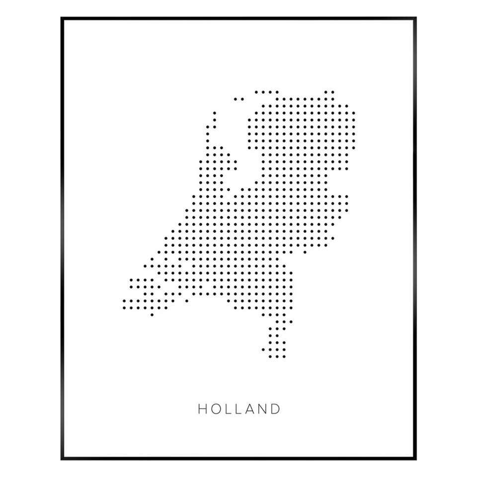 Reinders Schilderij Pop Art Holland - zwart/wit - 40x50 cm - Leen Bakker