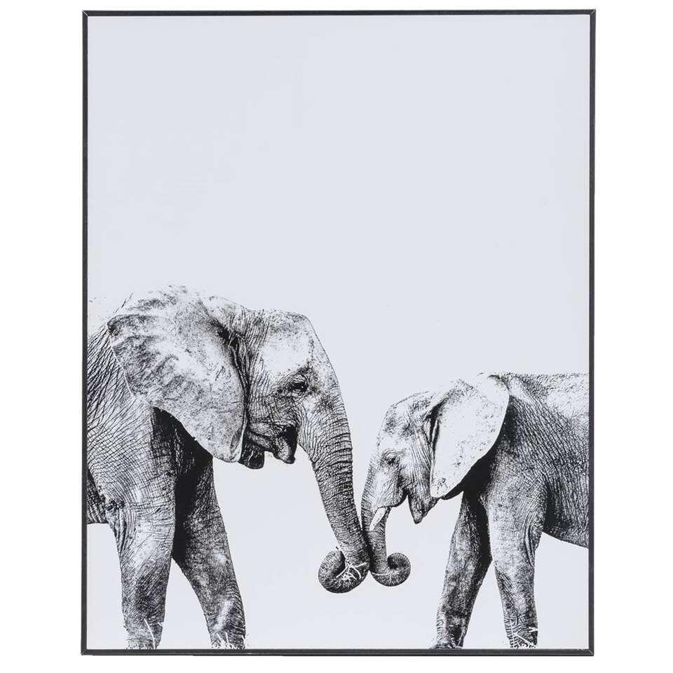 Schilderij Olifanten Liefde – zwart/wit/grijs – 40×50 cm – Leen Bakker