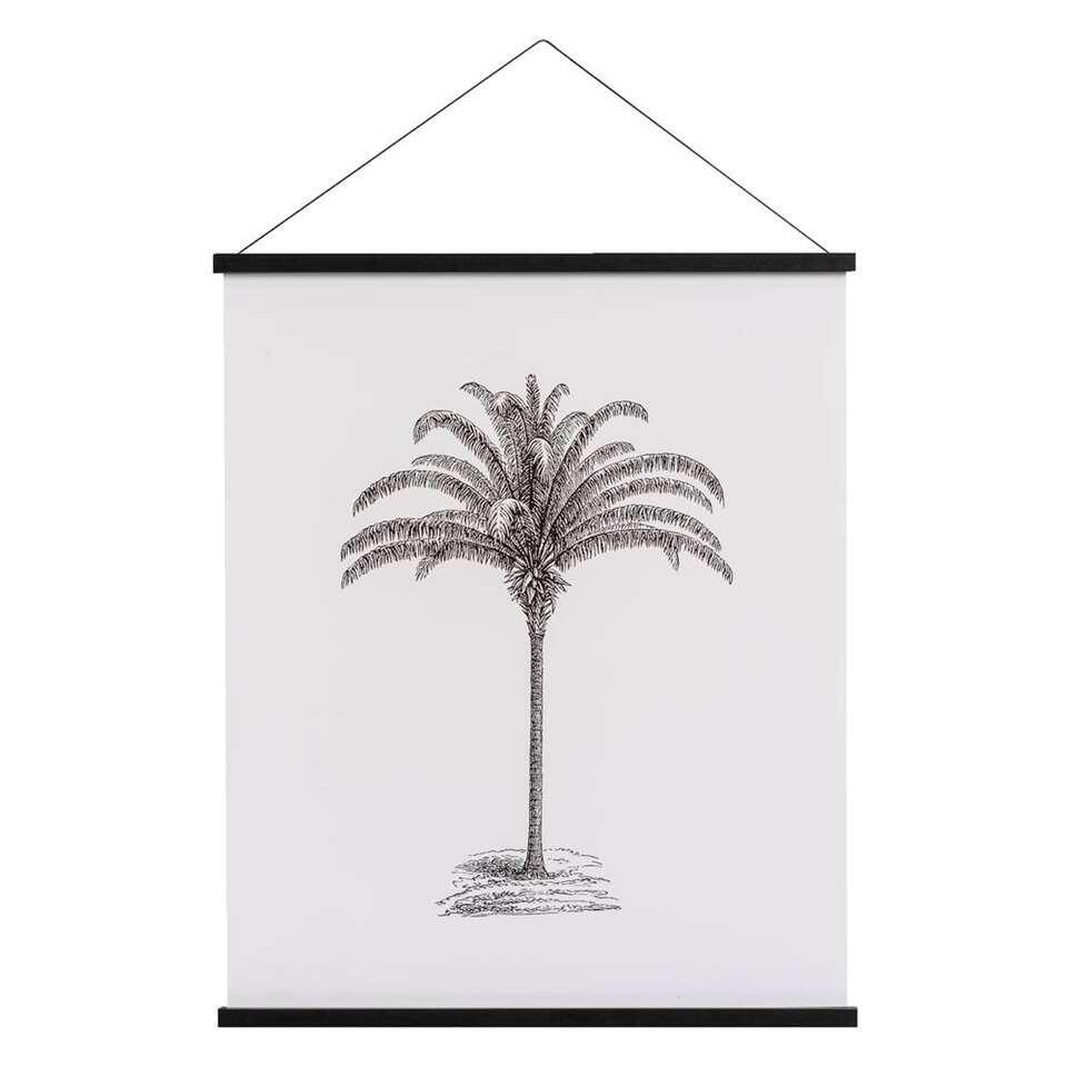 Art print Palmboom - zwart/wit - 50x40 cm - Leen Bakker