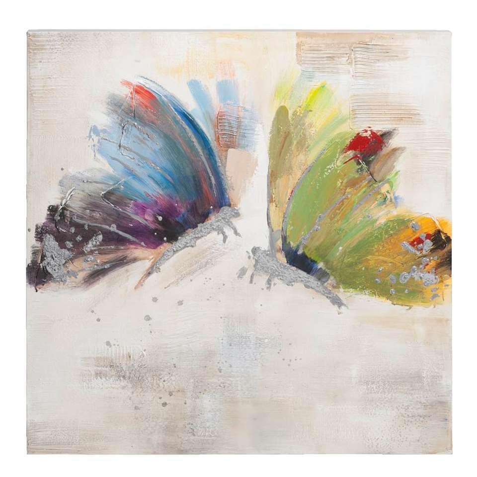 Schilderij Vlinders - donkerblauw - 80x80 cm - Leen Bakker