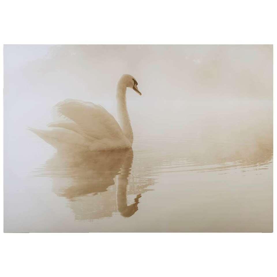 Canvas Zwaan – beige – 70×100 cm – Leen Bakker