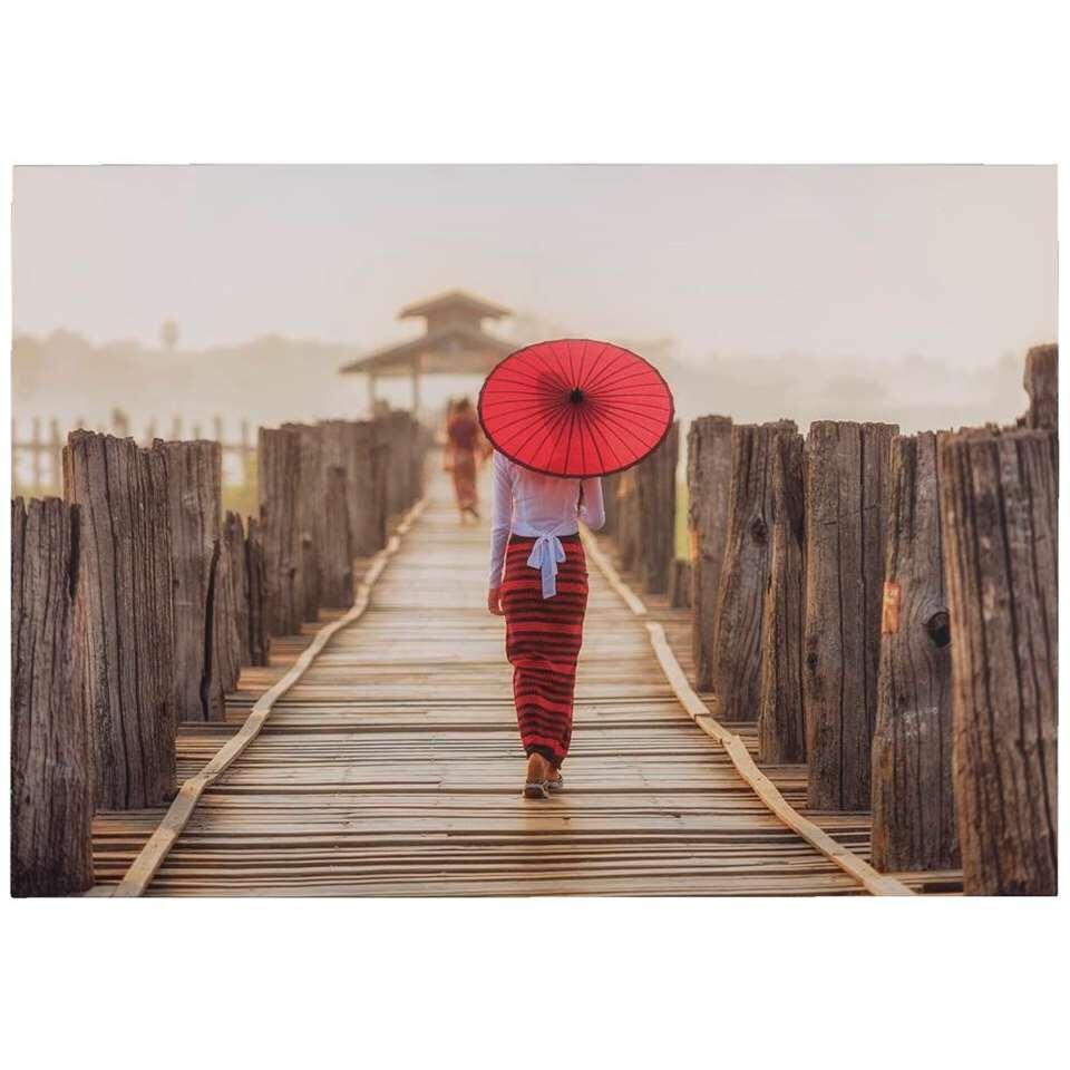 Canvas Women in red - rood - 70x100 cm - Leen Bakker