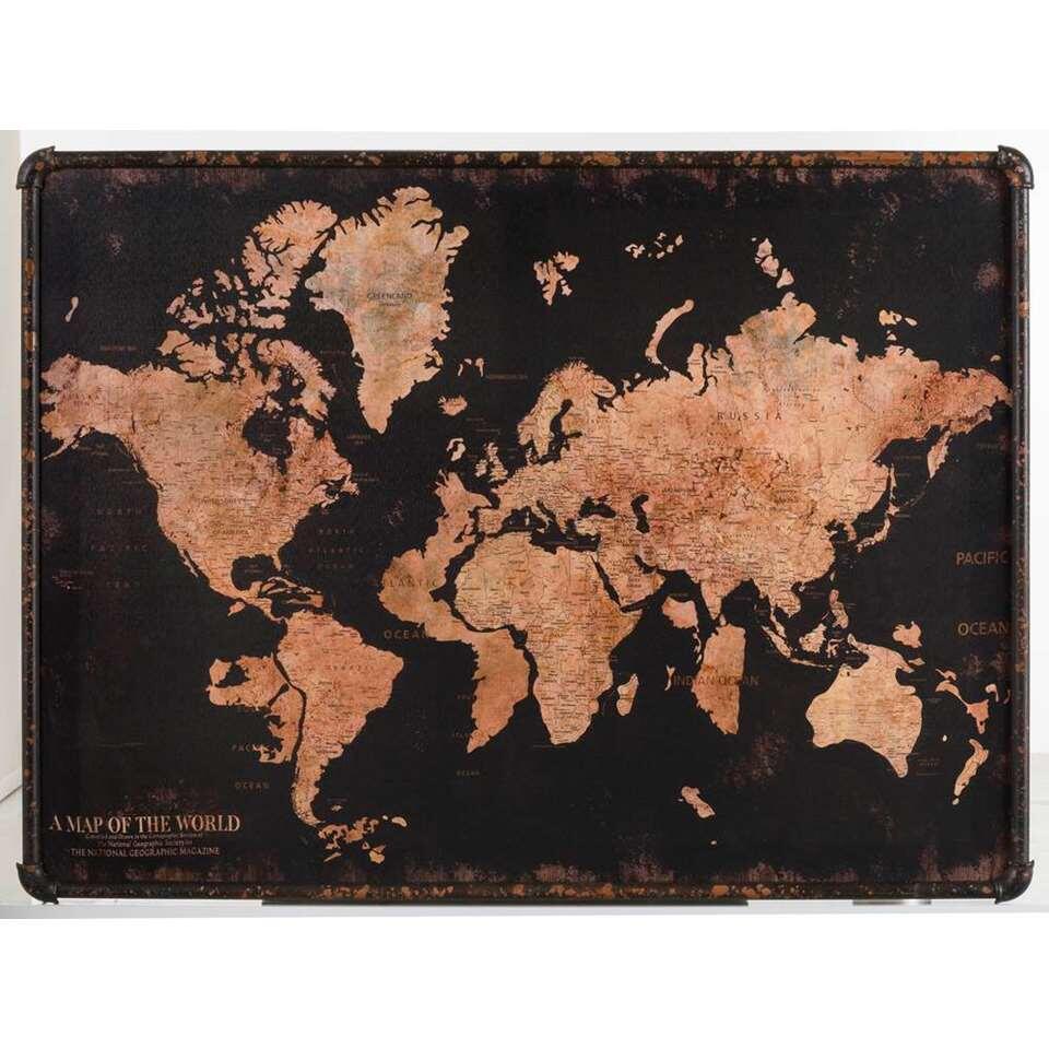 Canvas Wereldkaart – zwart – 60×80 cm – Leen Bakker