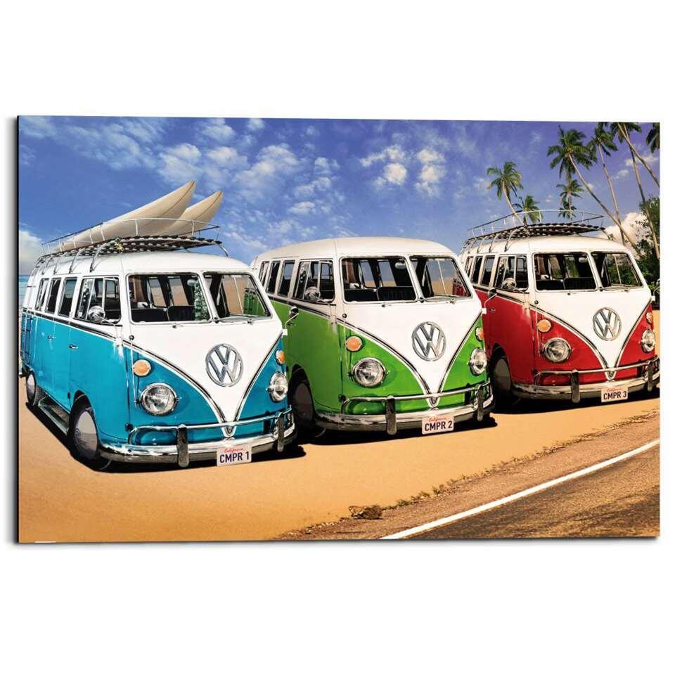 Reinders wandpaneel Volkswagen Busjes - multikleur - 60x90cm - Leen Bakker