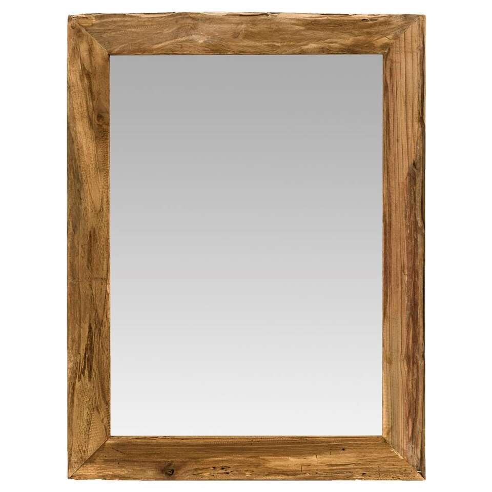 Spiegel Mees is gemaakt van gerecycled hout. De spiegel heeft een mooi houten frame en een warme uitstraling.