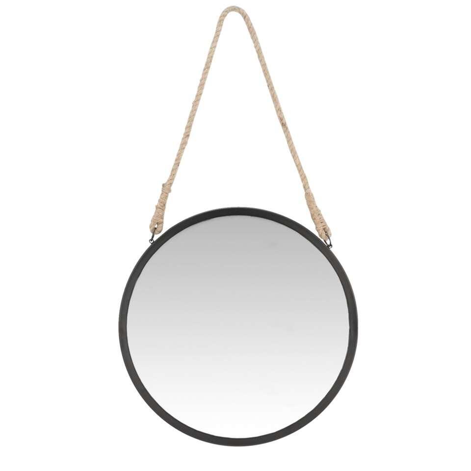 Spiegel tess zwart 43 cm for Ronde spiegel met touw