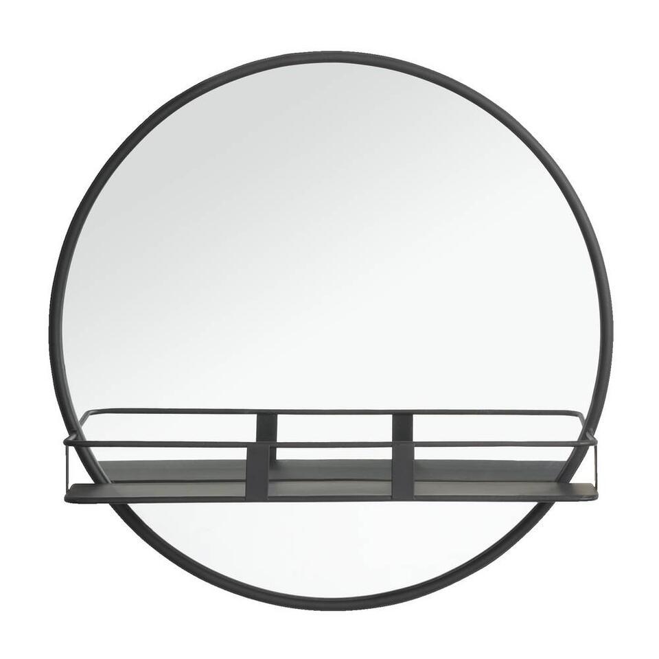 Spiegel met plateau Roel - zwart - 12x50 cm