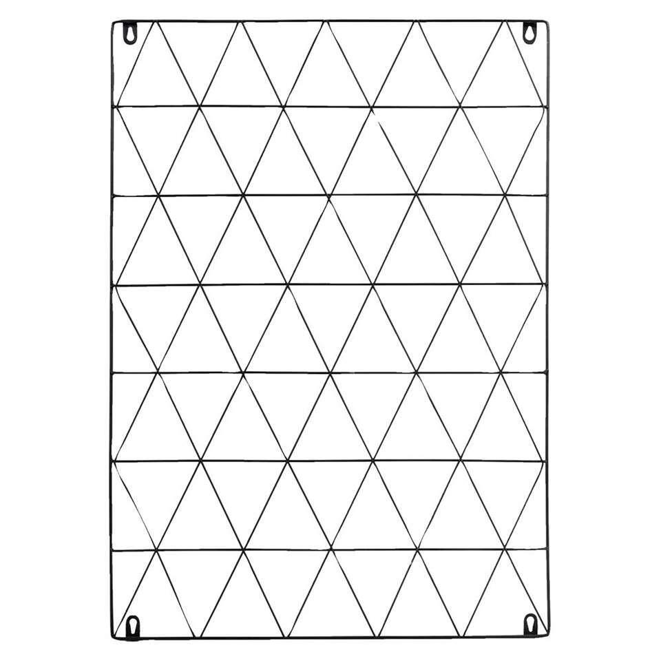 Wanddecoratie Rechthoek - zwart - 70x50x1 cm - Leen Bakker