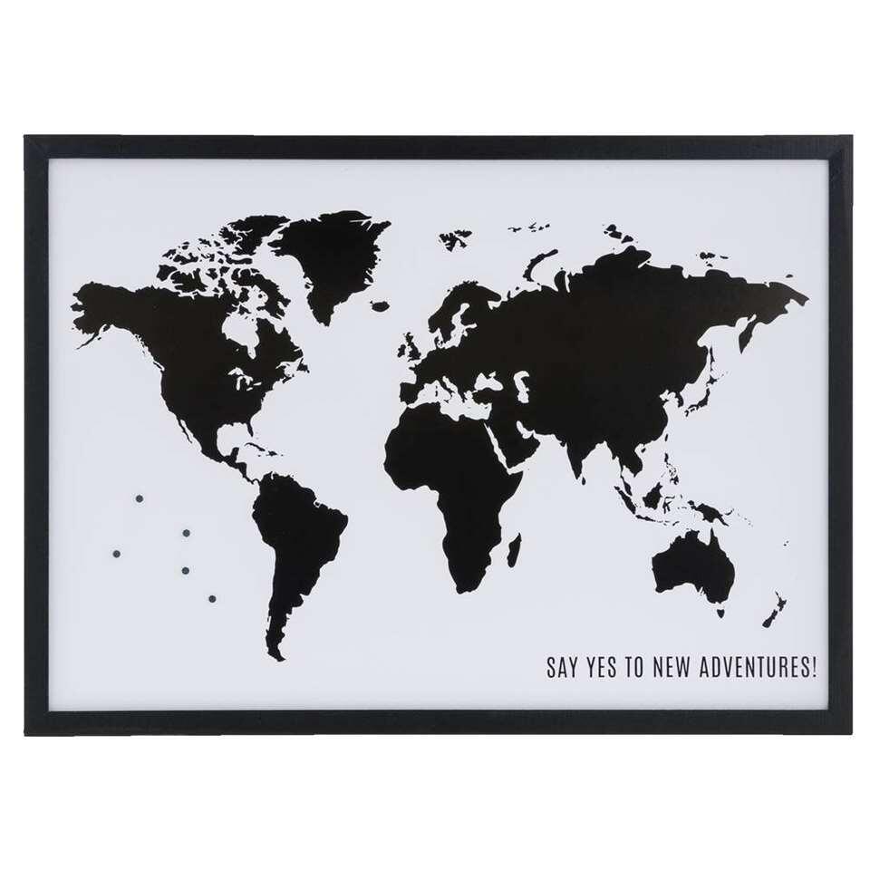 Magneetbord Wereldkaart + 4 magneten – zwart – 38×52 cm – Leen Bakker