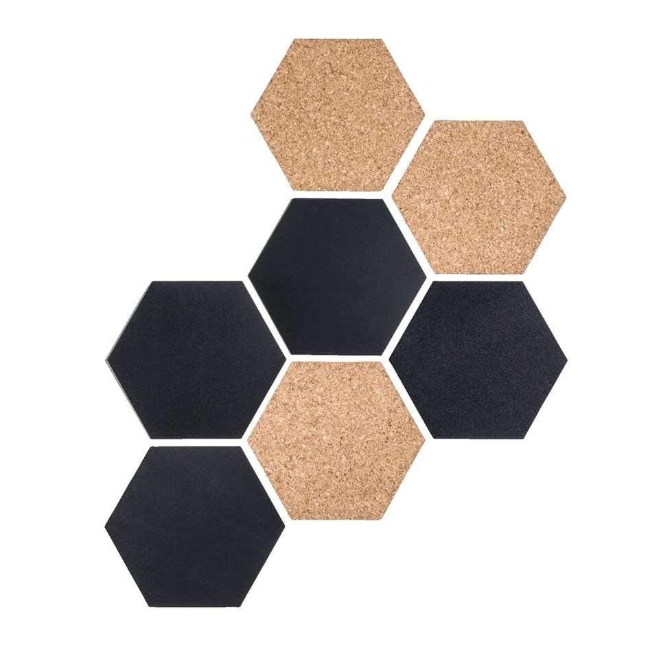 Reinders memobord Hexagon Kunststof/Kurk - zwart/neutraal - 7 maal 17,9x15,5 cm