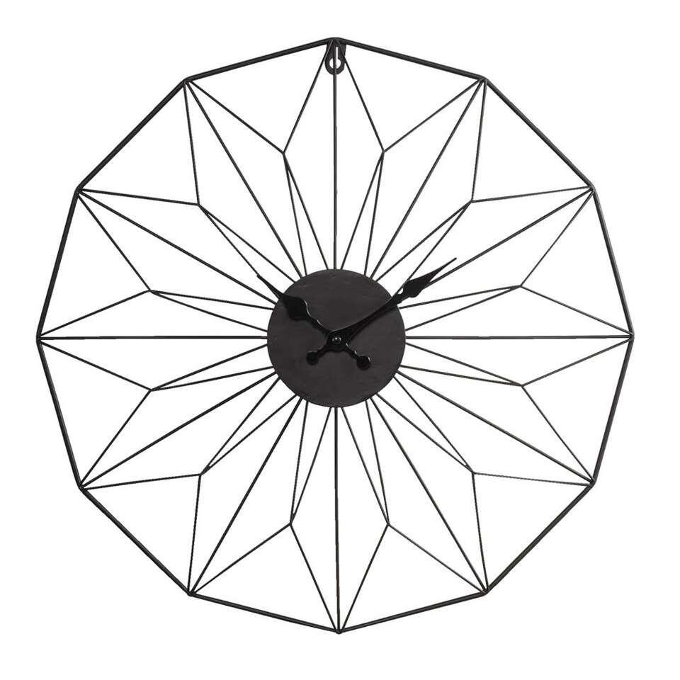Wandklok Perugia is zwart en de klok is gemaakt van metaal. Door het bijzondere design lijkt de klok bijna op mozaiek.