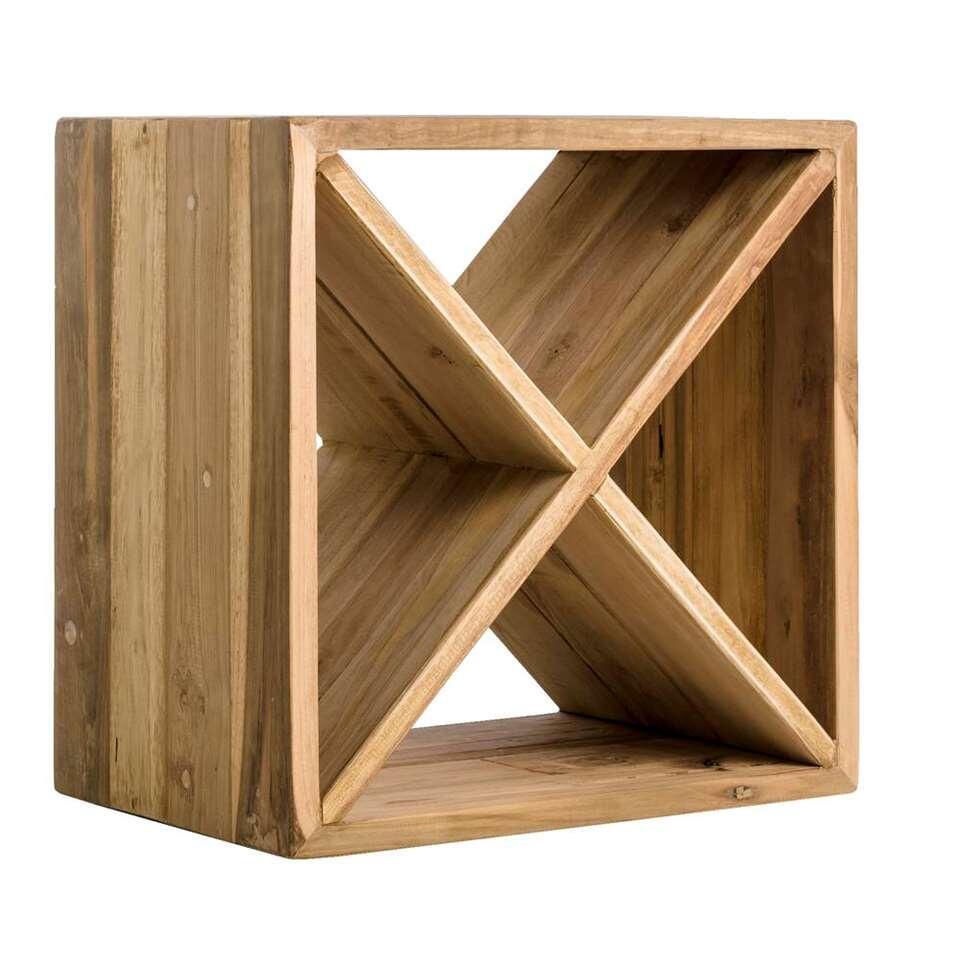 Wijnrek Loek - naturelkleur - 45x45x30 cm - Leen Bakker