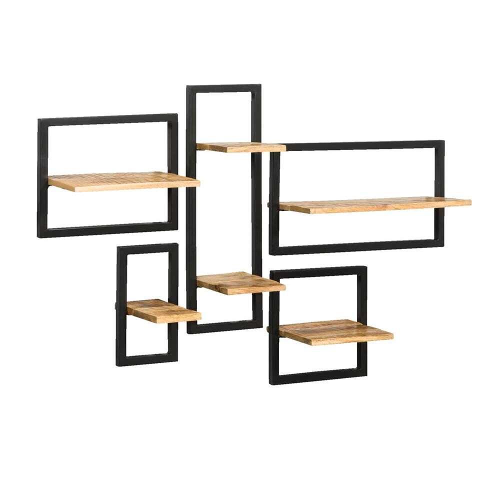 Wandplank Zwart Metaal Hout.Wandplank Bart Zwart Naturel 35x65x25 Cm