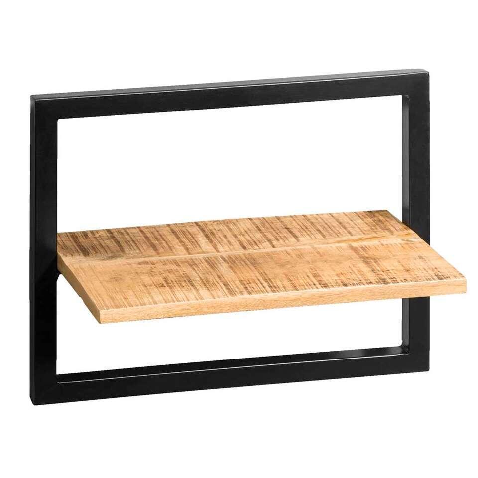 Wandplank Bart - zwart/naturel - 35x45x25 cm - Leen Bakker