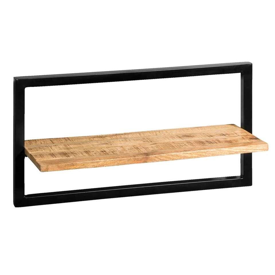 Wandplank Bart - zwart/naturel - 35x65x25 cm