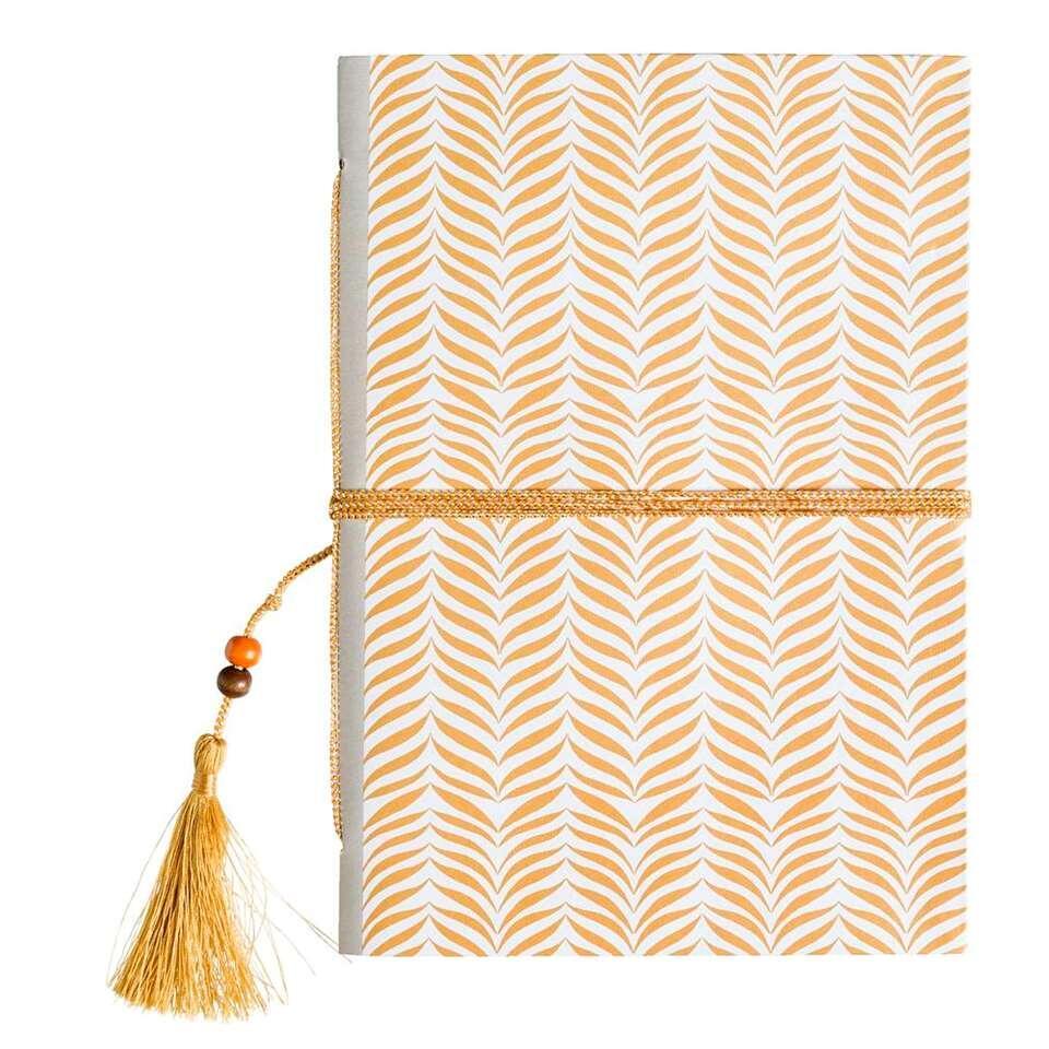 Notitieboek met kwastje - goudkleurig - 21x15x0,7 cm - Leen Bakker