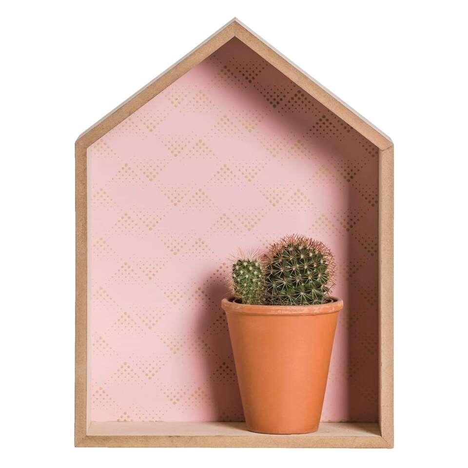 Deco huis Milaan - roze/goudkleur - 28,5x21,5x7 cm - Leen Bakker