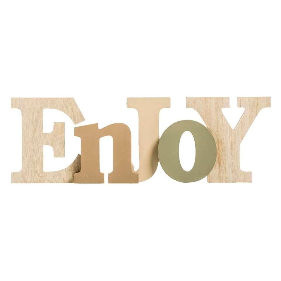 Deco letters Enjoy – naturel/groen – 12x31x3,2 cm – Leen Bakker