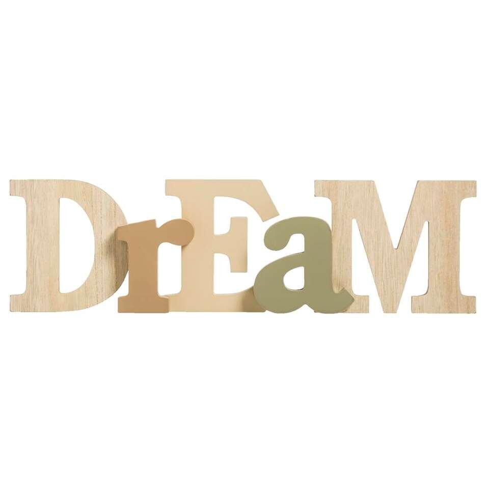Deco letters Dream – naturel/groen – 12x41x3,2 cm – Leen Bakker