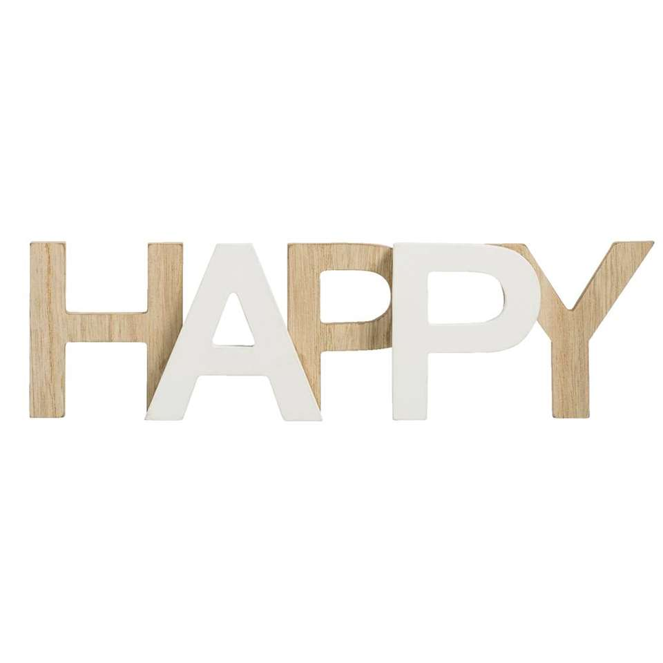 Deco letters Happy – naturel/wit – 8x29x3 cm – Leen Bakker