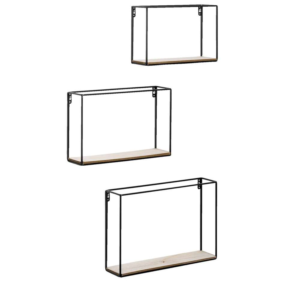 Wandplank Andrew (set van 3) – zwart/bruin – 40x27x9 cm – Leen Bakker