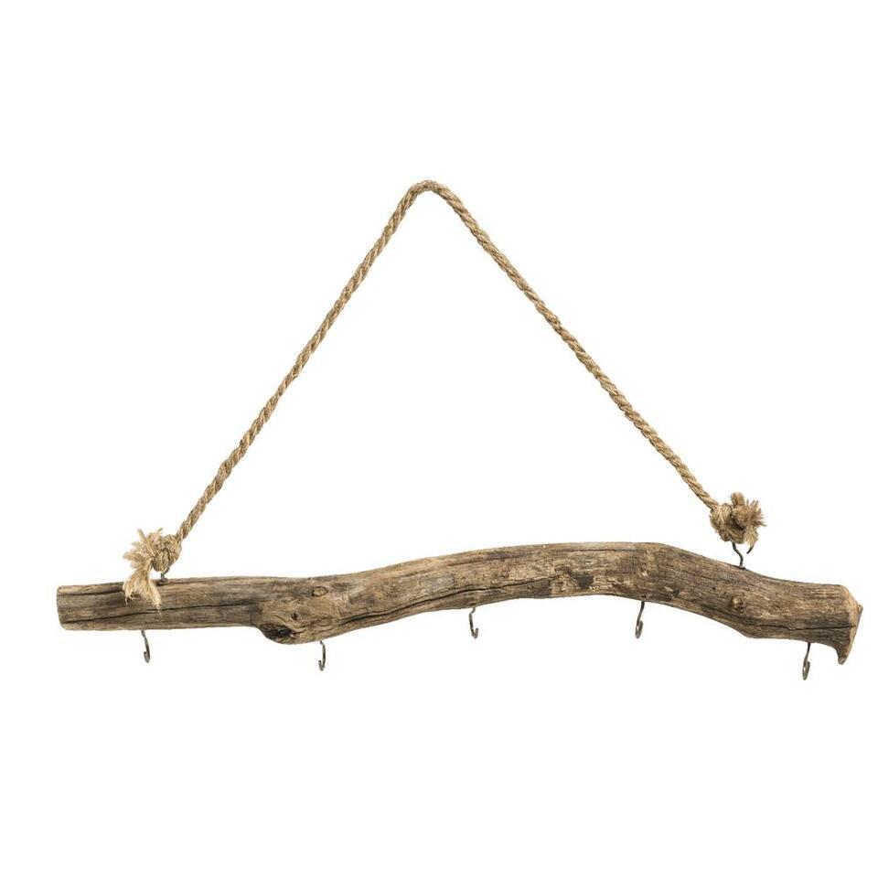 Hanger Scott met 5 haken - naturel - 25x50x5 cm
