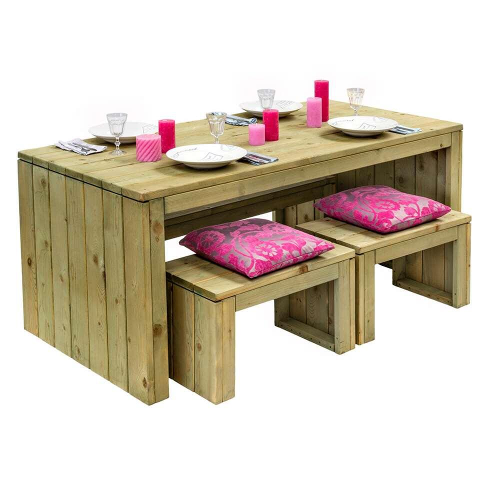 Outdoor Life picknickset - naturel - 4-delig - Leen Bakker