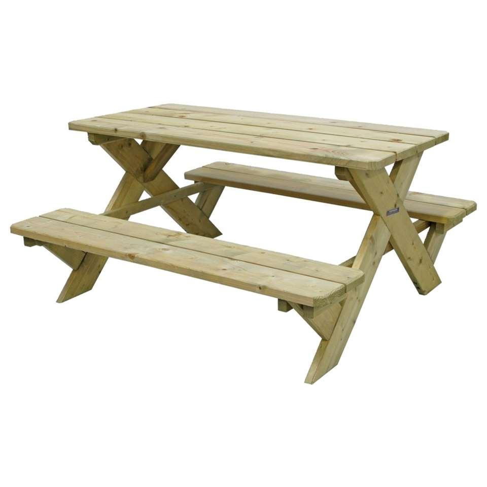 Outdoor Life picknicktafel - naturel - 50x90x98 cm - Leen Bakker