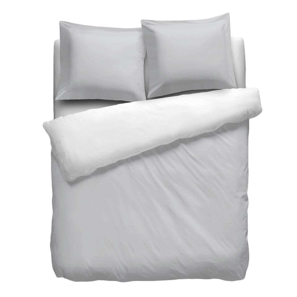 Heckett & Lane dekbedovertrek Royal Cotton Perkal - wit/grijs - 140x220 cm - Leen Bakker