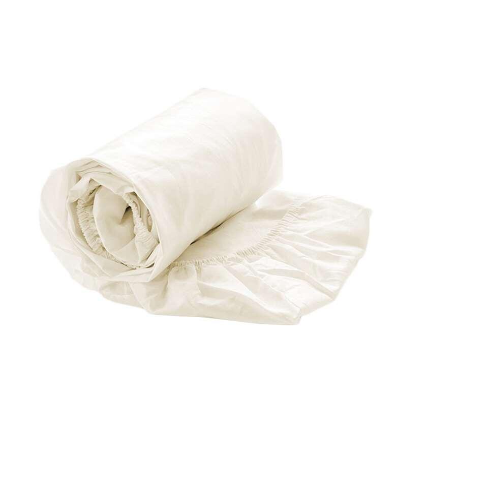 Royal Cotton perkal hoeslaken - ecru - 80x200x35 cm - Leen Bakker