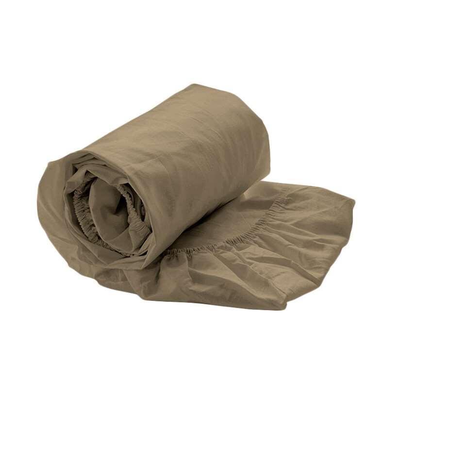 Royal Cotton hoeslaken Perkal - goudkleur - 160x200x35 cm - Leen Bakker