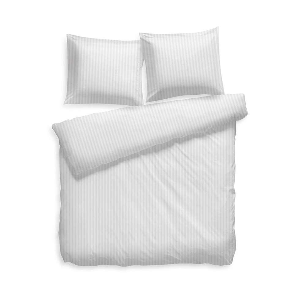 Heckett & Lane dekbedovertrek Uni Stripe - wit - 240x200 cm - wit