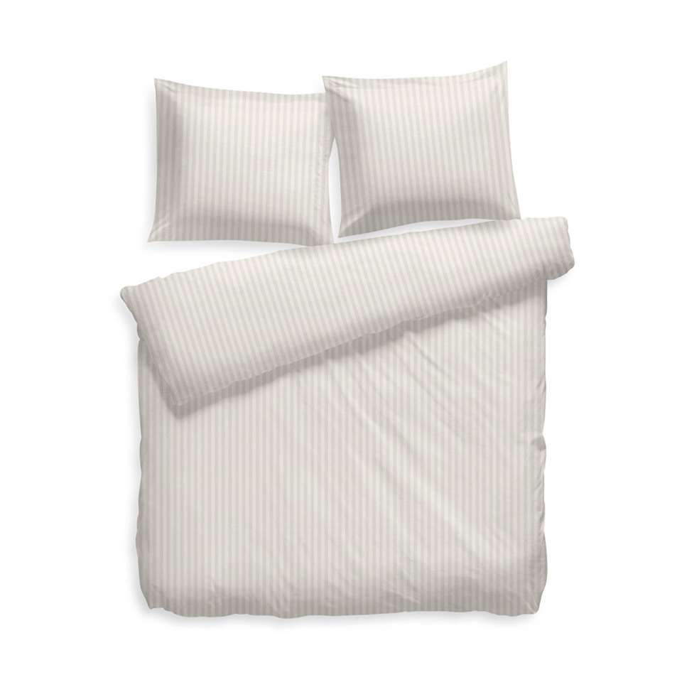 Heckett & Lane dekbedovertrek Uni Stripe - off-white - 240x200 cm