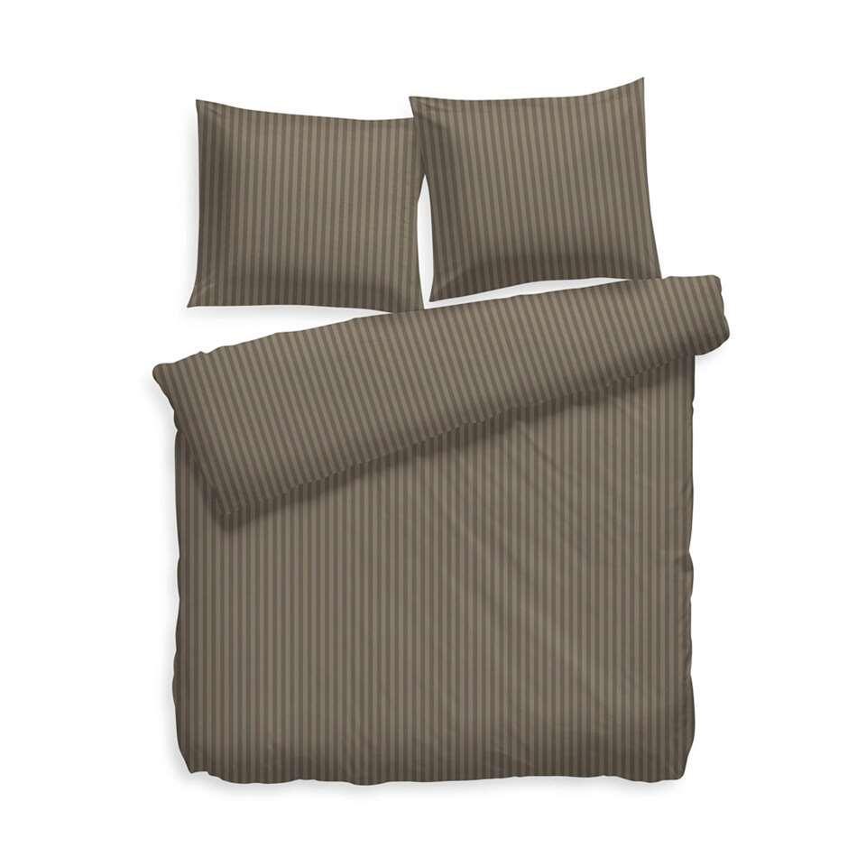 Heckett & Lane dekbedovertrek Uni Stripe - taupe grey - 140x200 cm - Leen Bakker