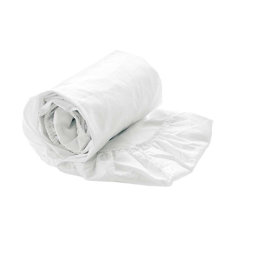 Heckett & Lane hoeslaken Satijn - wit - 180/200+30 cm - Leen Bakker