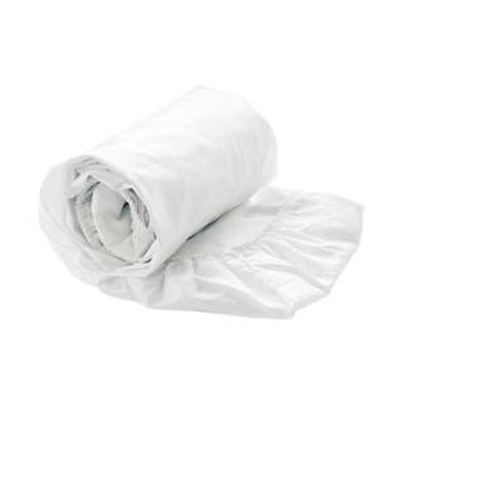 Heckett & Lane hoeslaken Satijn - wit - 80/200+30 cm - Leen Bakker