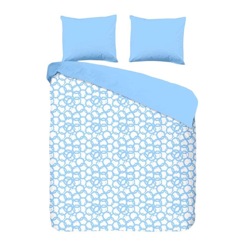Good Morning dekbedovertrek Cirkels - blauw - 200x200/220 cm - Leen Bakker