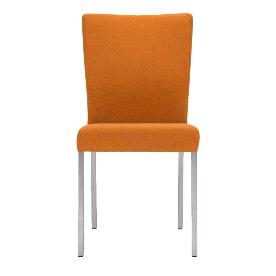 Eetkamerstoel Lisboa - stof - oranje (2 stuks) - Leen Bakker