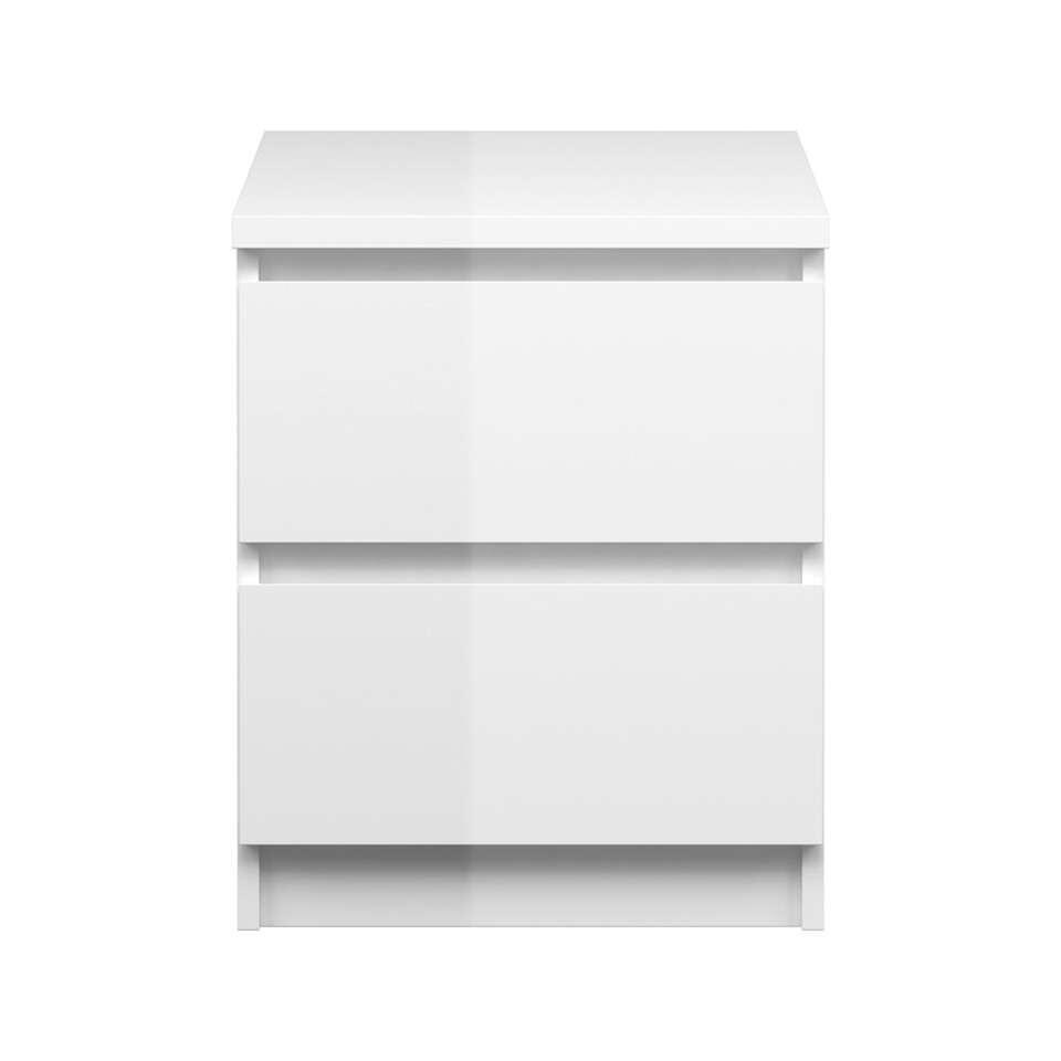 Nachtkastje Naia - 2 lades - hoogglans wit