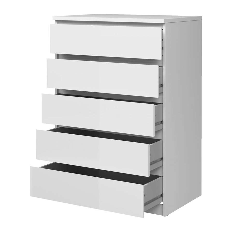 Ladenkast Voor Schoenen.Ladekast Naia 5 Lades Hoogglans Wit 111 3x76 8x50 Cm