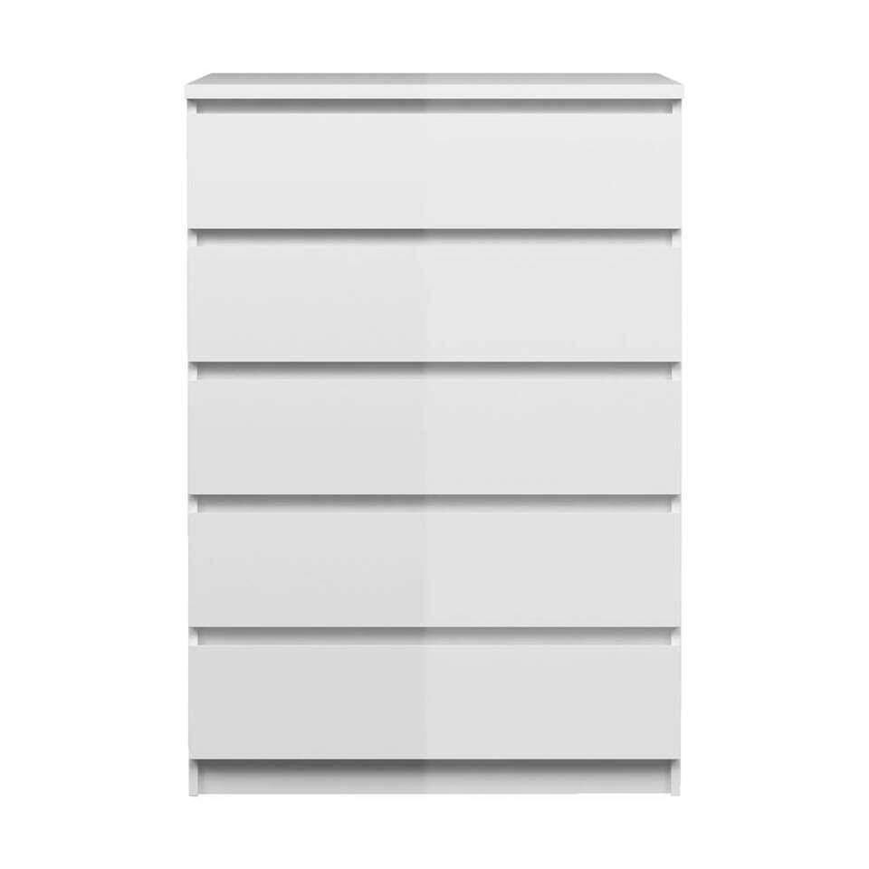 Ladekast Naia 5 lades - hoogglans wit - 111,3x76,8x50 cm - Leen Bakker