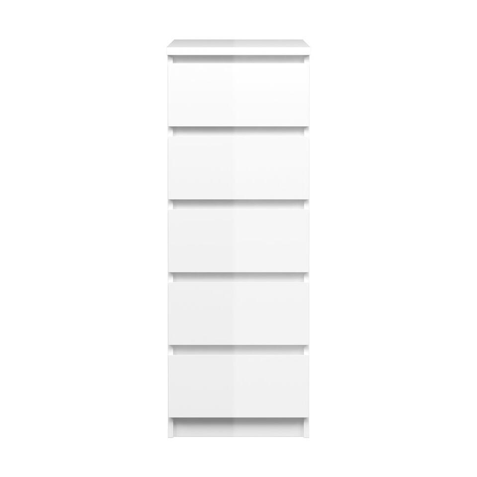 Ladekast Naia hoog 5 lades - hoogglans wit - 111,3x40,2x50 cm - Leen Bakker