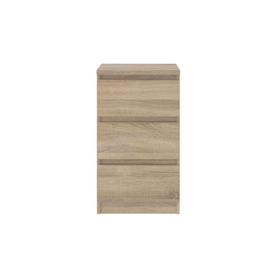 Ladekast Naia 3 lades - eikenkleur - 70,1x40,4x50 cm - Leen Bakker