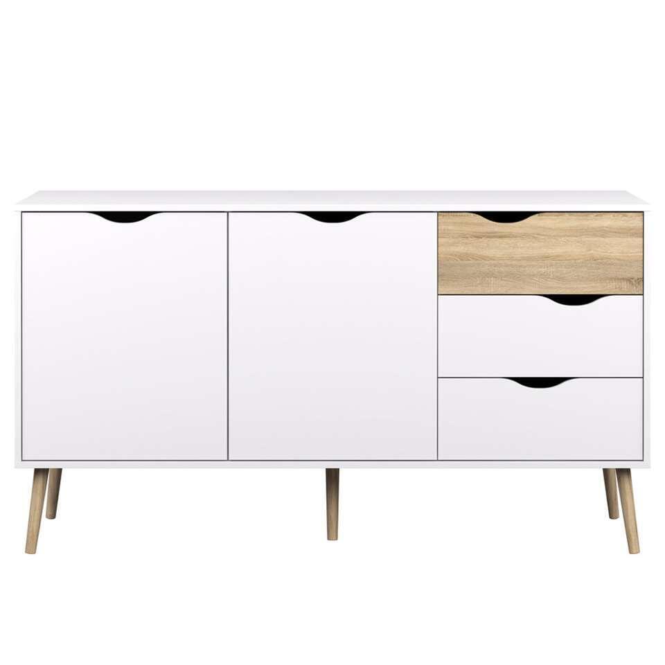 Dressoir Delta 5-vaks - wit - 81,7x147,1x39 cm - Leen Bakker