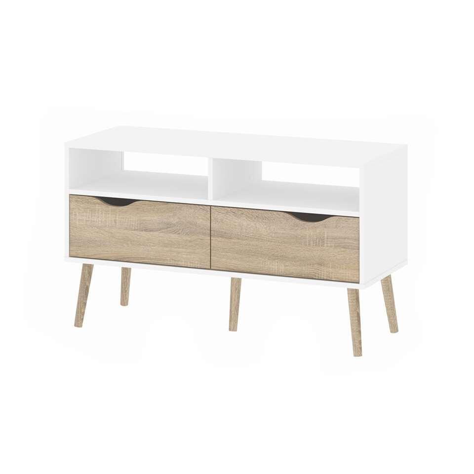 Verwonderend TV-meubel Delta 4-vaks - wit/bruin - 98,6x39x57,6 cm AX-16