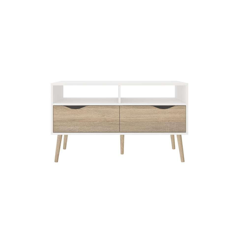 TV-meubel Delta 4-vaks – wit/bruin – 98,6x39x57,6 cm – Leen Bakker